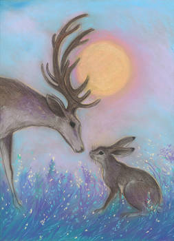 In the bright eyes (A Deer and Hare)