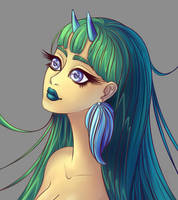 A demon girl portrait