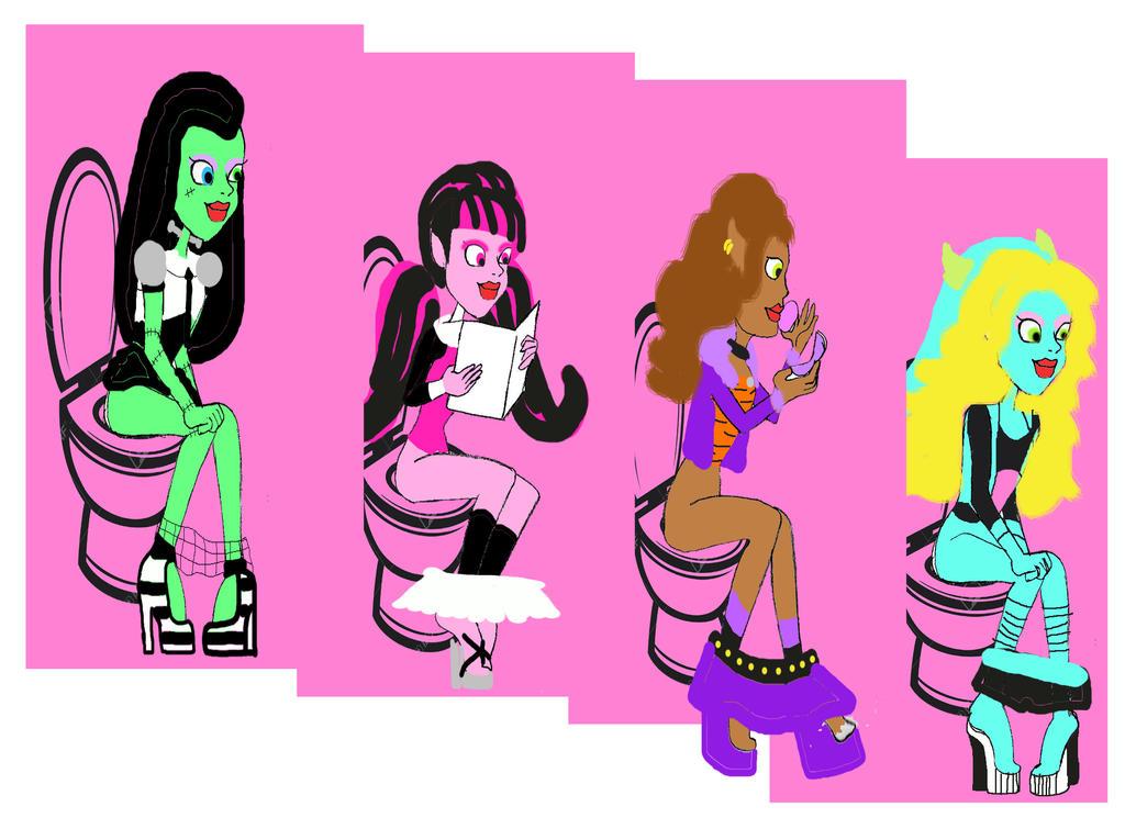 Inside Monster High girls restroom by Shellquake