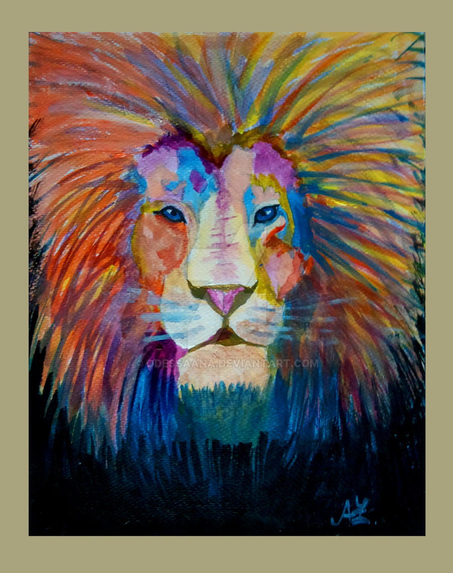 Lion Painting by OdessaAna Colorful Lion Paintings