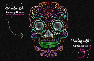 Glitter, jewel, tinsel, confetti photoshop brushes by imakestock