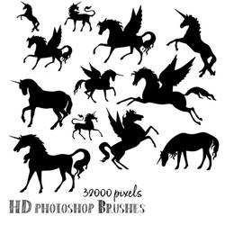 High resolution Unicorn Photoshop Brushes by imakestock