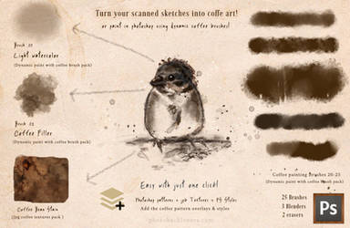 Paint with coffee -Photoshop brushes by imakestock