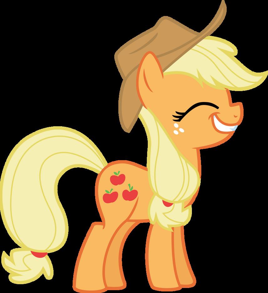 Applejack Smiling by dblokt on DeviantArt Happy Applejack Vector