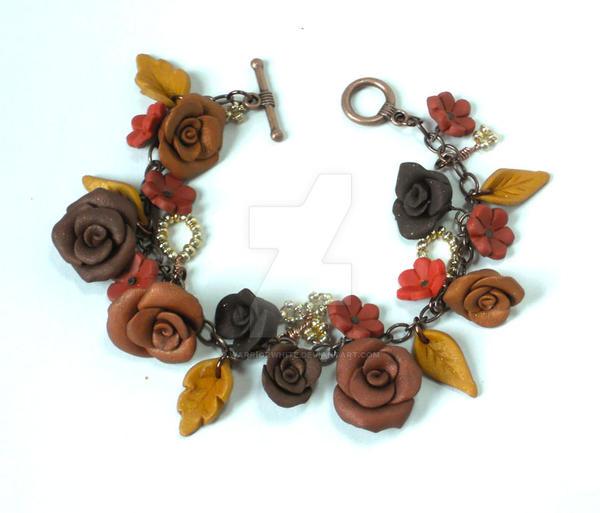 Copper Rose garden charm bracelet by WarriorWhite