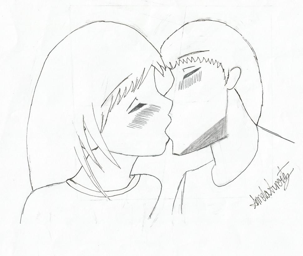 Anime Girl And Boy Kiss By Sondreara On Deviantart