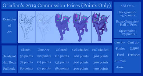 Commission Prices 2019 (Open) by Griafian