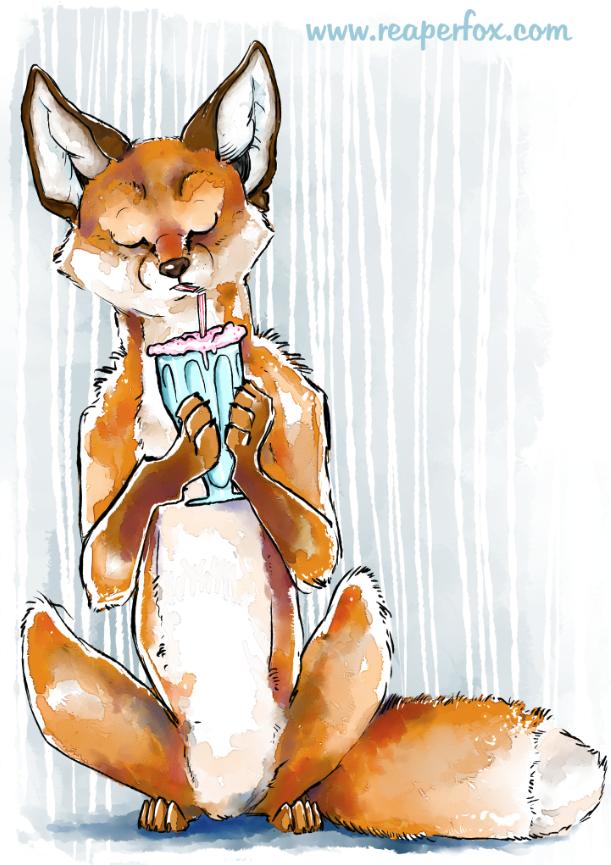 Slurpee Foxie! by reaperfox