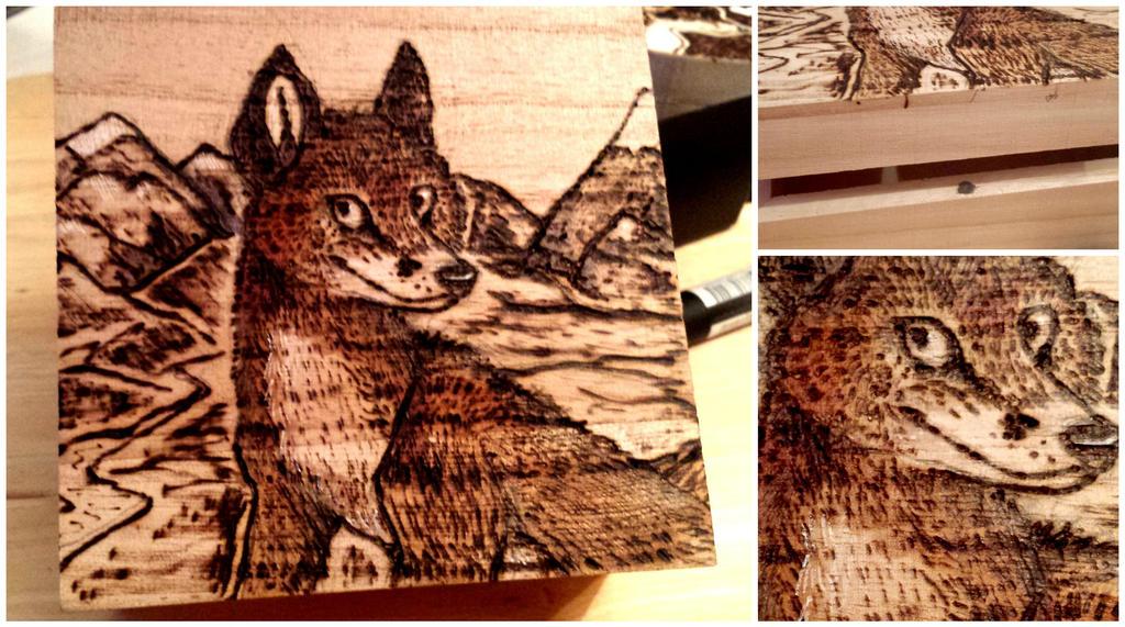 Fox Box ! (pyrography / wood burning!) by reaperfox