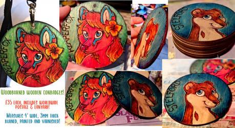 Woodburned Conbadge Commissions!!