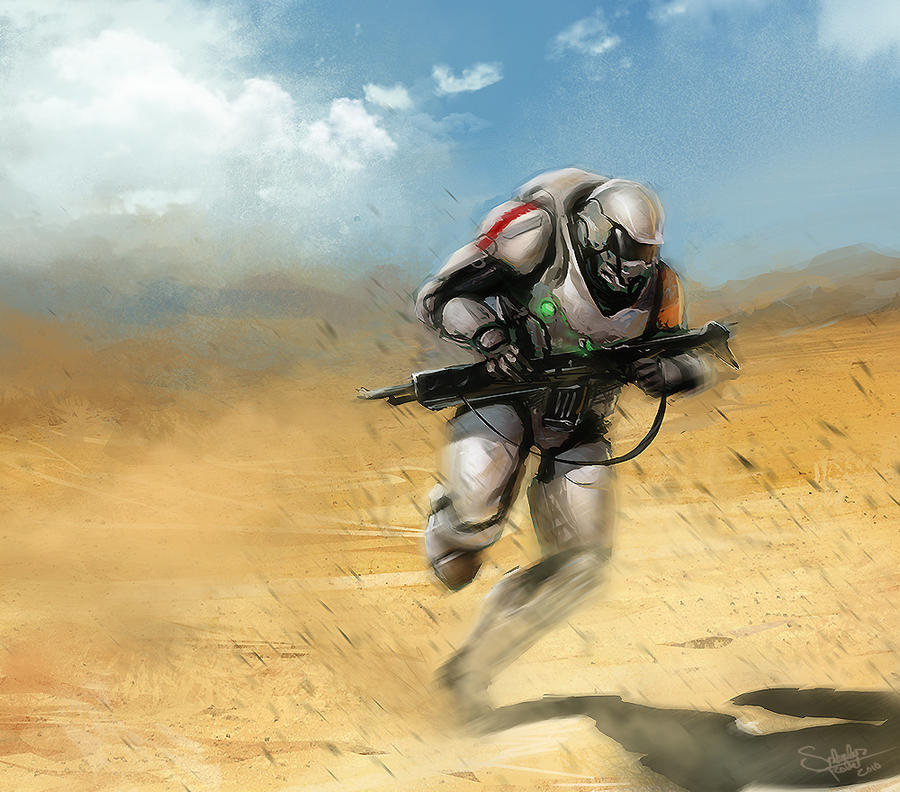 Sci-Fi Soldier Sketch by SalvadorTrakal