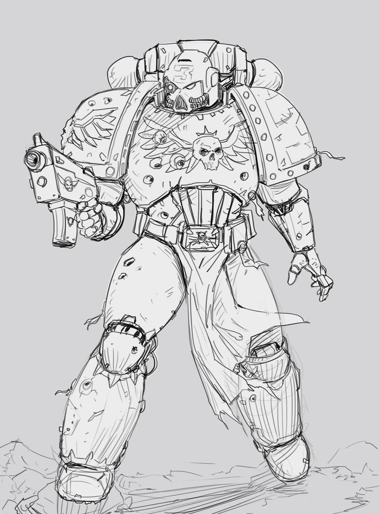 Line Art Universe : Space marine sketch by salvadortrakal on deviantart