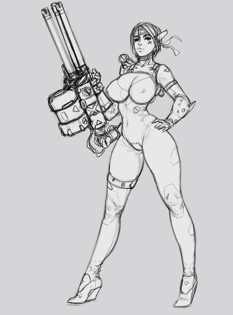 Minigun Sketch by SalvadorTrakal