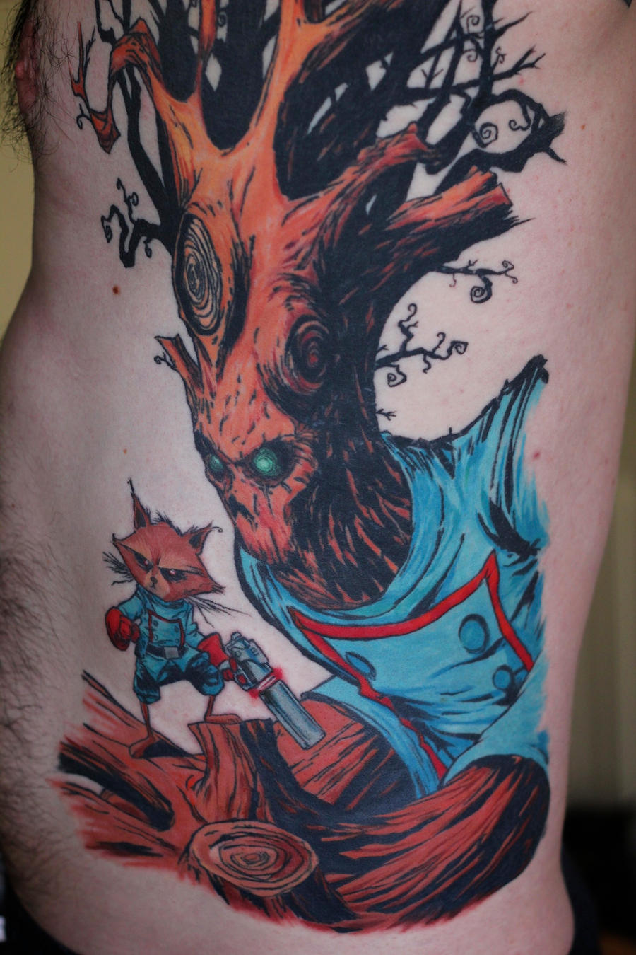 rocket raccoon and groot tattoo complete by turtle31b on deviantart. Black Bedroom Furniture Sets. Home Design Ideas