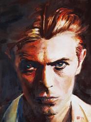 'David Bowie' oil on 18x24 cm gesso panel
