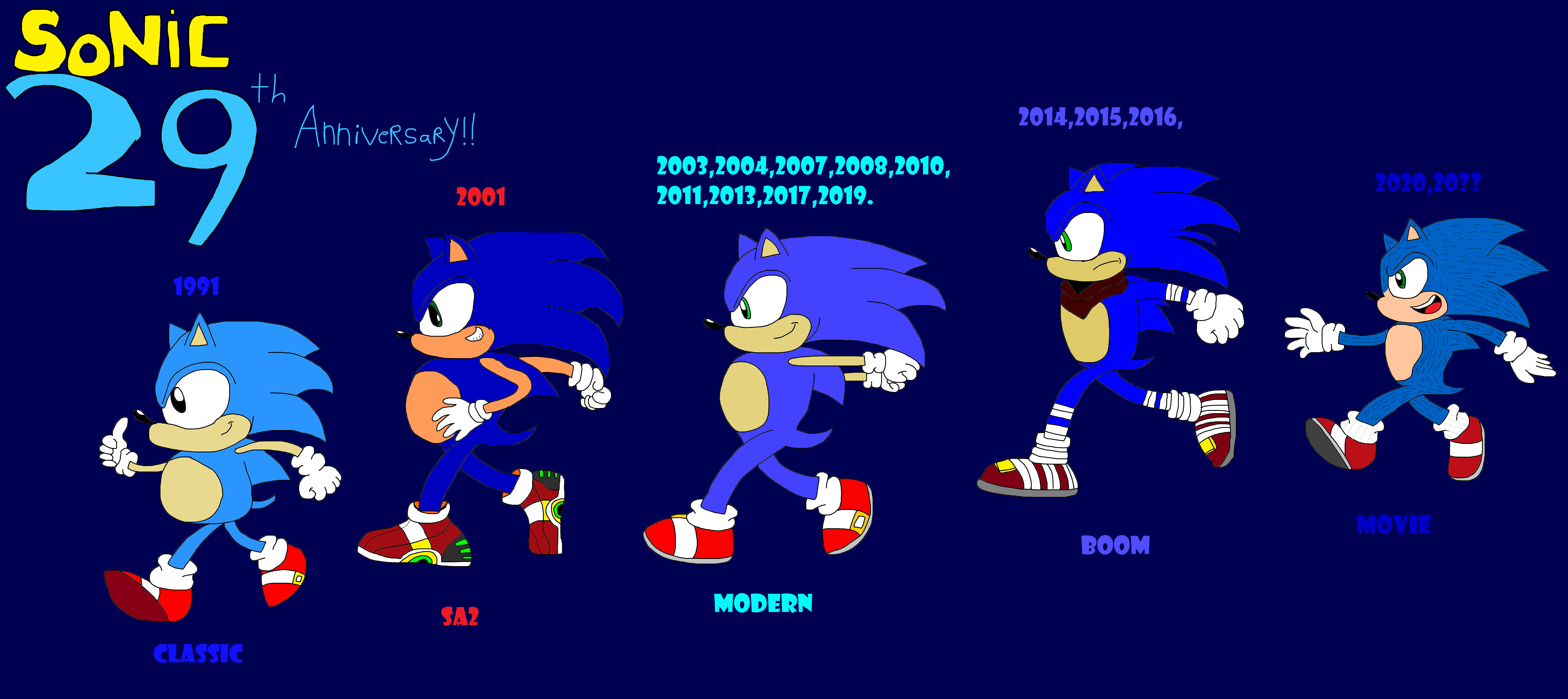 Sonic The Hedgehog 29th Anniversary Poster 2 By