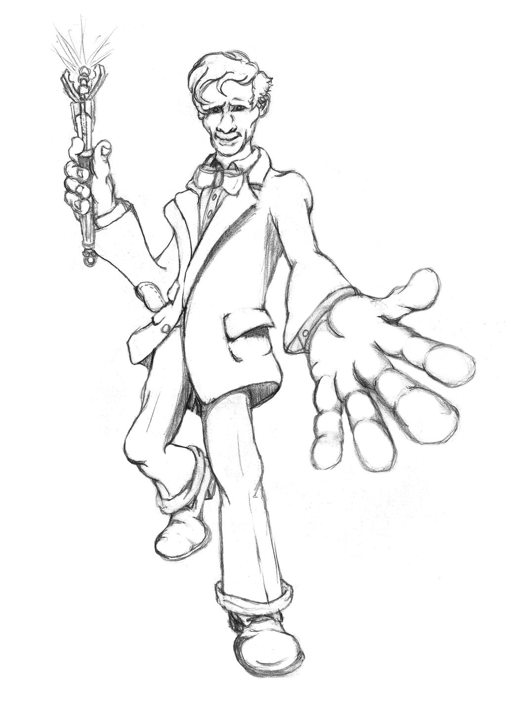 doctor who sketch 11th 12th doctor smith by powerplaygraphix
