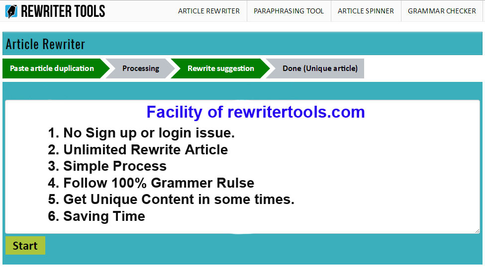 Article rewriter service grammar