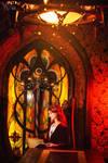 Medieval queen in the castle. Fantasy illustration