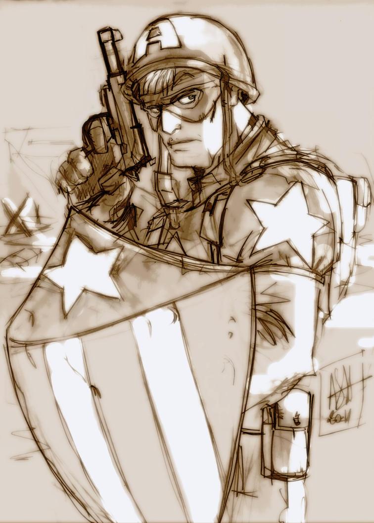 Captain America sepia tones by scarecrowhassan