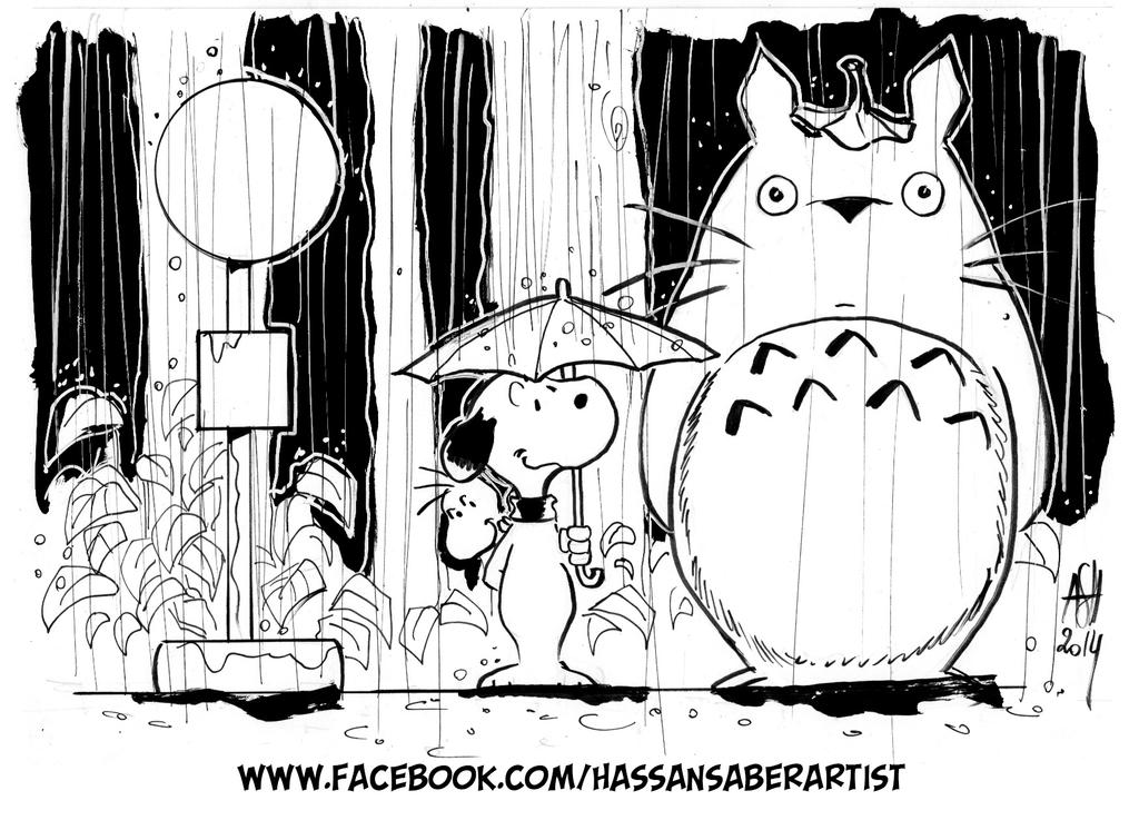 Snoopy and Totoro by scarecrowhassan