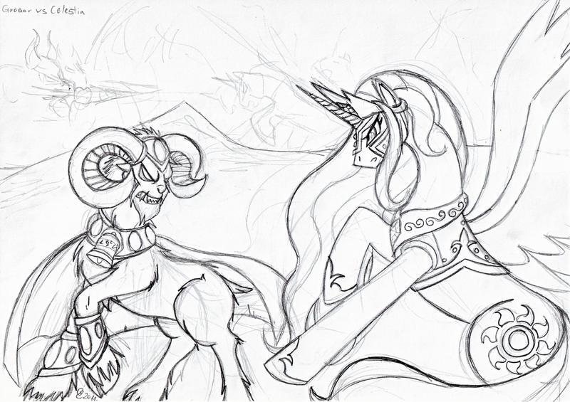 Celestia vs. Grogar - Sketch by Yula568