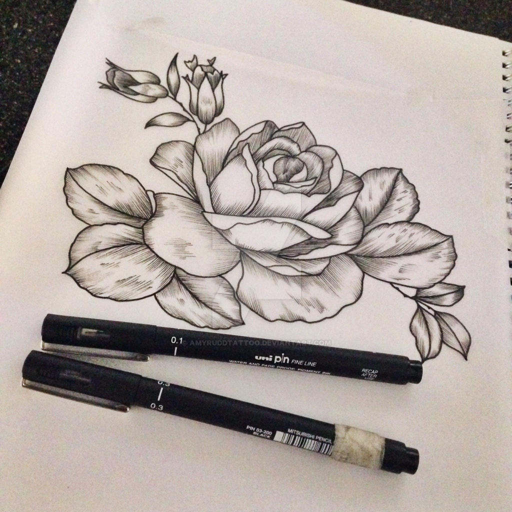 Line Work Design : Line work rose available to be tattooed by amyruddtattoo