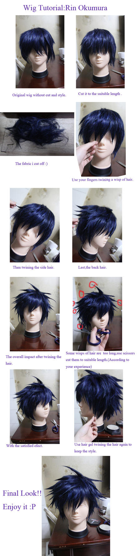 Wig Tutorial Ao No Blue Exorcist Rin Okumura by kasou0630