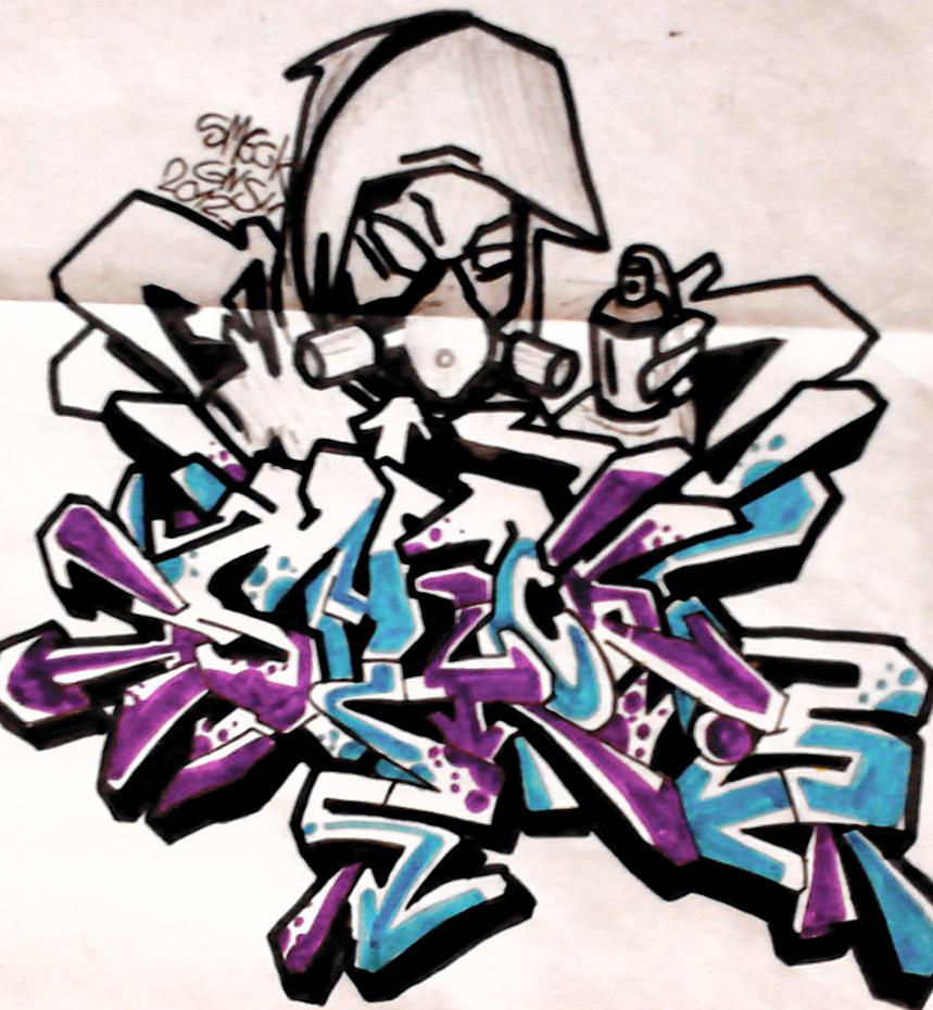 Graffiti Art Sketches With Color Sketch Graffiti Art Characters