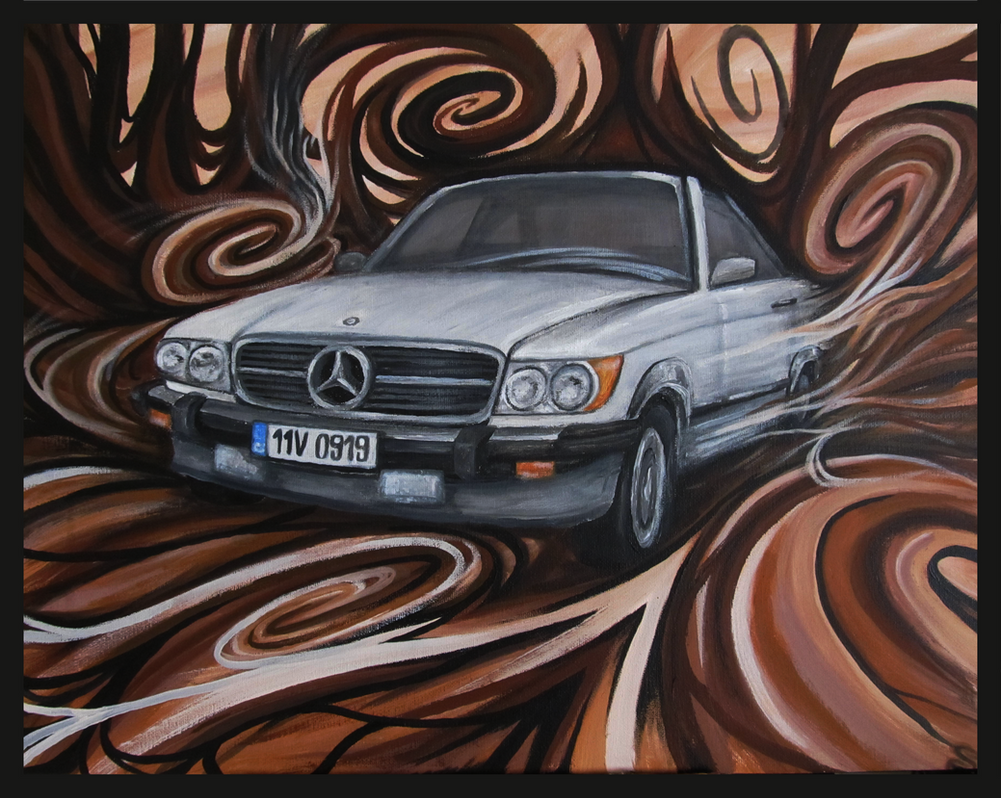 Painting Mercedes Benz Sl Abstract Background By Smeckin
