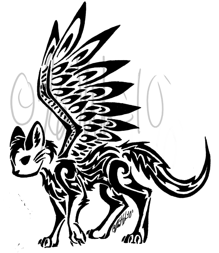 Wallpapers Tribal Animals Animal Tattoo 1024x1024: Winged Cat Tribal By KittyKatOfHyperness On DeviantArt