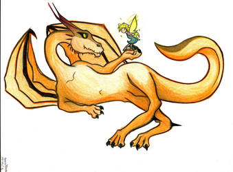 Drangon with Fairy by Ikisatashi