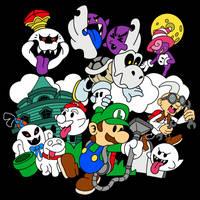 Luigi's Paper Mansion Color Version (T-Shirt) by ronniearaya1