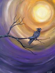 Acryl painting crow 60x80 Canvas