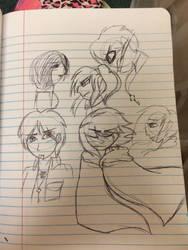 Attack on Titan Sketches by GypsyDragonZephyr