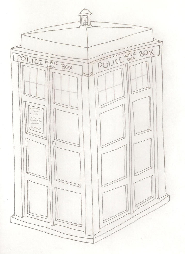 Tardis line art the image kid has it for Tardis coloring pages