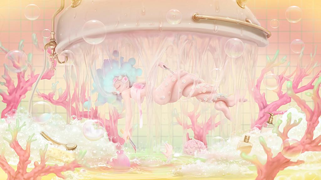 Bathtub Mermaid by nekoita