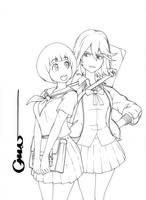Kill la Kill Mako and Ryuko Lineart by Omar-Dogan