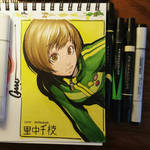 Chie leaning in colour