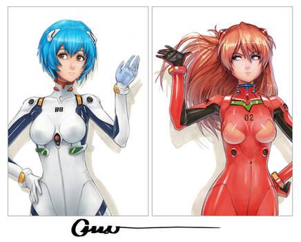 Rei and Asuka photo shoot