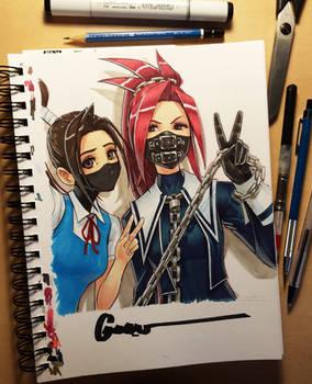 Ibuki and Zaki - Masked School Girls