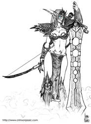 Night Elf Warrior Sketch by transfuse