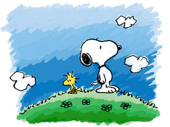 SNOOPY AND WOODSTOCK. by KisstheDream