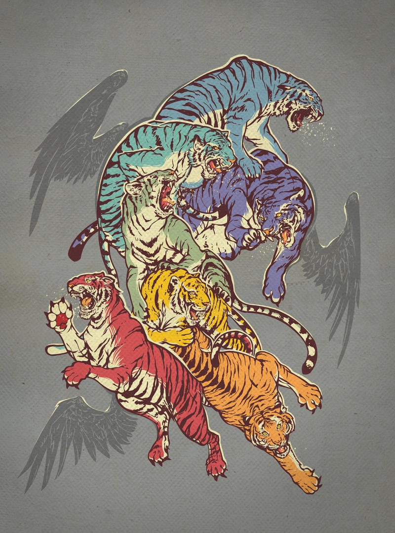 Seven Caged Tigers by dracoimagem-com