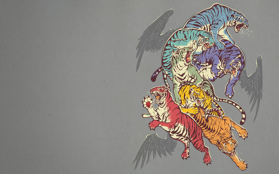 SevenCagedTigers Wallpaper by dracoimagem-com