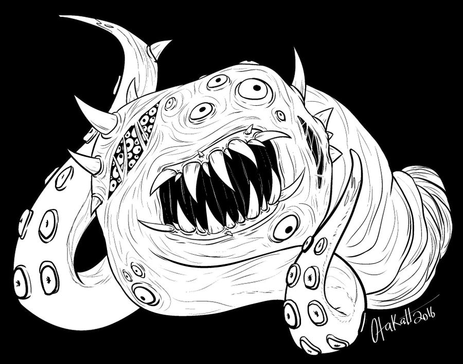 Inktober 4 - Chaos Beast by Otakatt