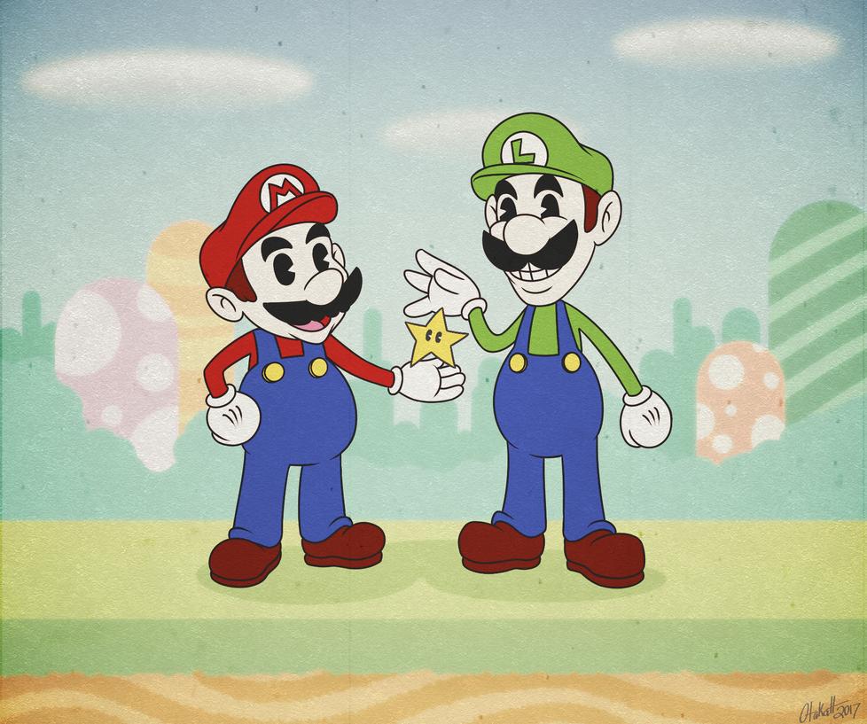 Old-Timey Mario and Luigi (Cuphead inspired!) by Otakatt