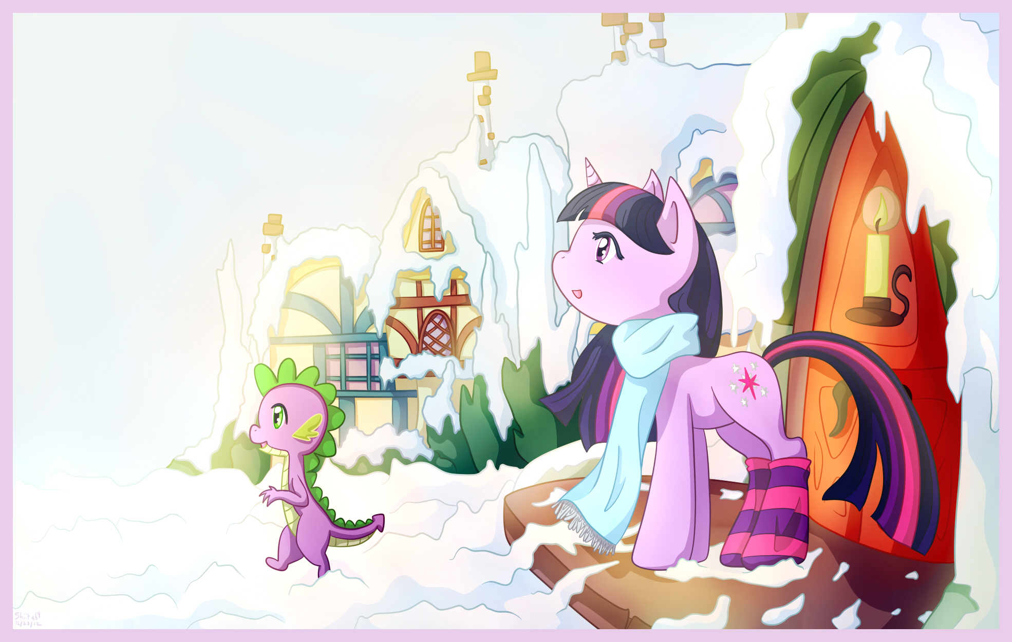Twilight Sparkle and Spike - First Snowfall by shiita64