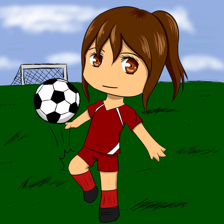 This is a graphic of Accomplished Girl Playing Soccer Drawing