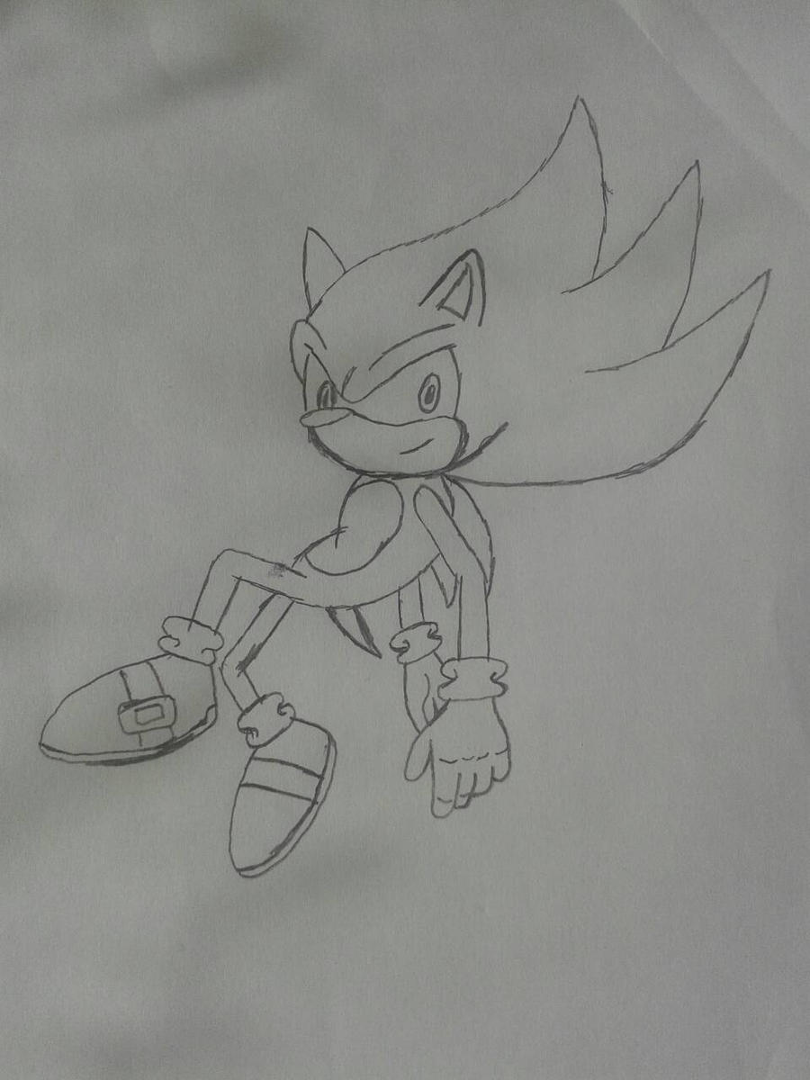 Sketch: Super Sonic by XalenTheWolf